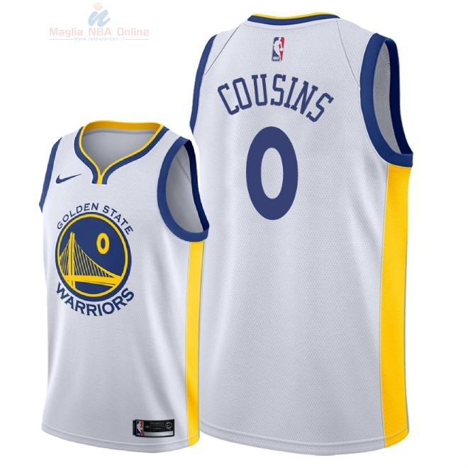 Acquista Maglia NBA Nike Golden State Warriors #0 DeMarcus Cousins Bianco Association 2018