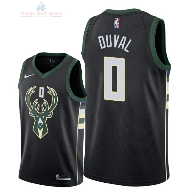 Acquista Maglia NBA Nike Milwaukee Bucks #0 Trevon Duval Nero Statement 2018