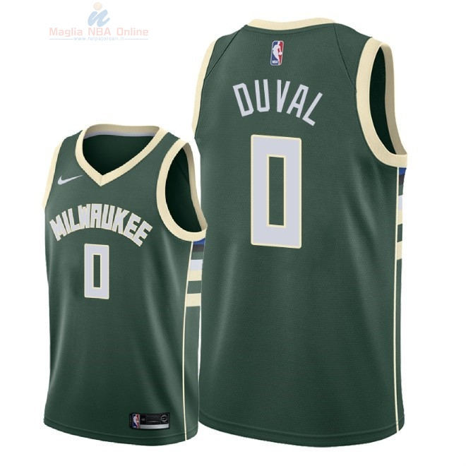 Acquista Maglia NBA Nike Milwaukee Bucks #0 Trevon Duval Verde Icon 2018