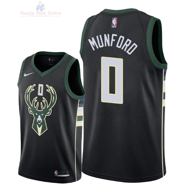 Acquista Maglia NBA Nike Milwaukee Bucks #0 Xavier Munford Nero Statement 2018