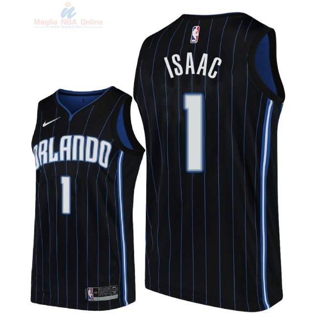 Acquista Maglia NBA Nike Orlando Magic #1 Jonathan Isaac Nero Statement 2018