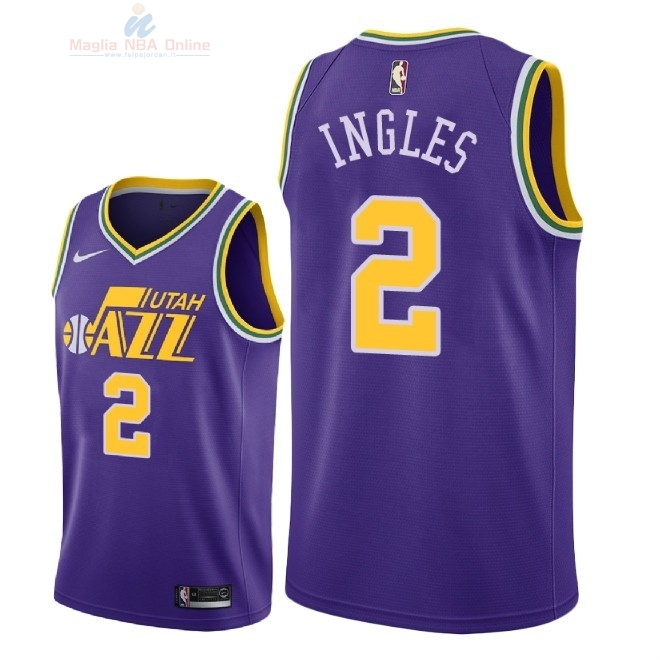 Acquista Maglia NBA Nike Utah Jazz #2 Joe Ingles Retro Porpora 2018