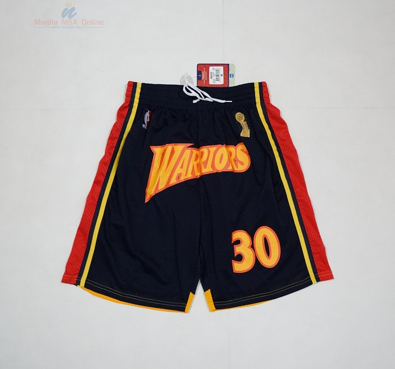Acquista Pantaloni Basket Golden State Warriors 2018 Campionato Finali #30 Stephen Curry Nero