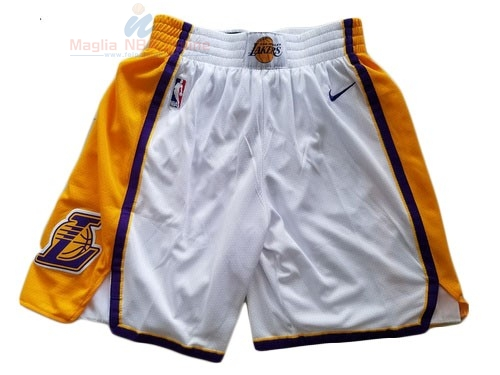 Acquista Pantaloni Basket Los Angeles Lakers Nike Bianco 2018