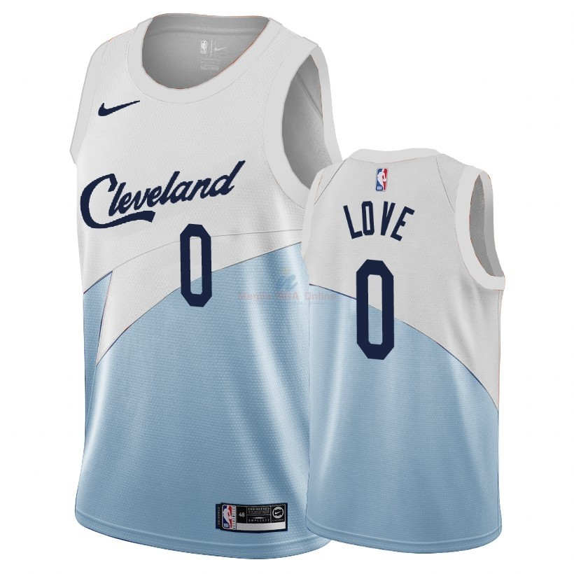 Acquista Maglia NBA Earned Edition Cleveland Cavaliers #0 Kevin Love Blu 2018-19