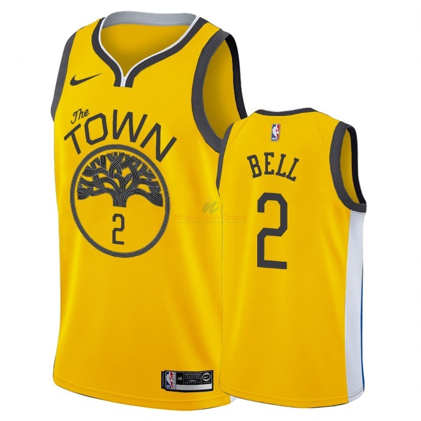 Acquista Maglia NBA Earned Edition Golden State Warriors #2 Jordan Bell Nike Oro 2018-19
