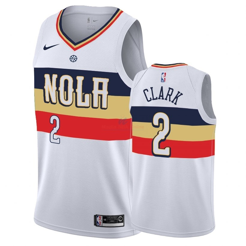 Acquista Maglia NBA Earned Edition New Orleans Pelicans #2 Ian Clark Bianco 2018-19