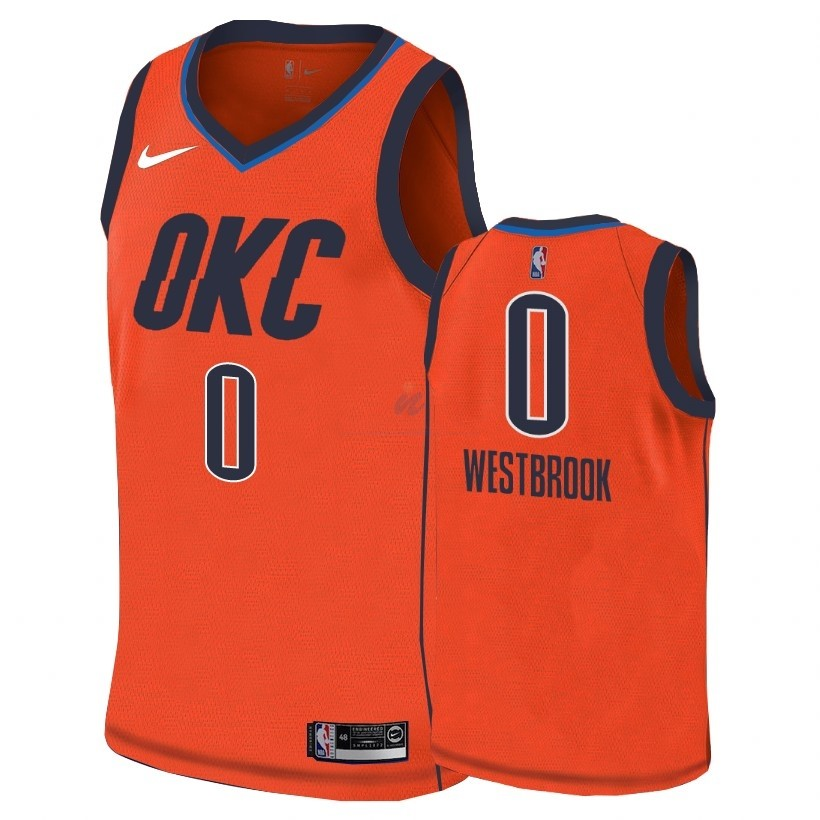 Acquista Maglia NBA Earned Edition Oklahoma City Thunder #0 Russell Westbrook Arancia 2018-19