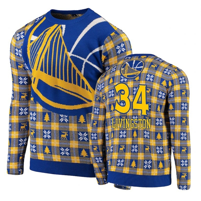 Acquista Maglione Ugly Unisex Golden State Warriors #34 Shaun Livingston Blu