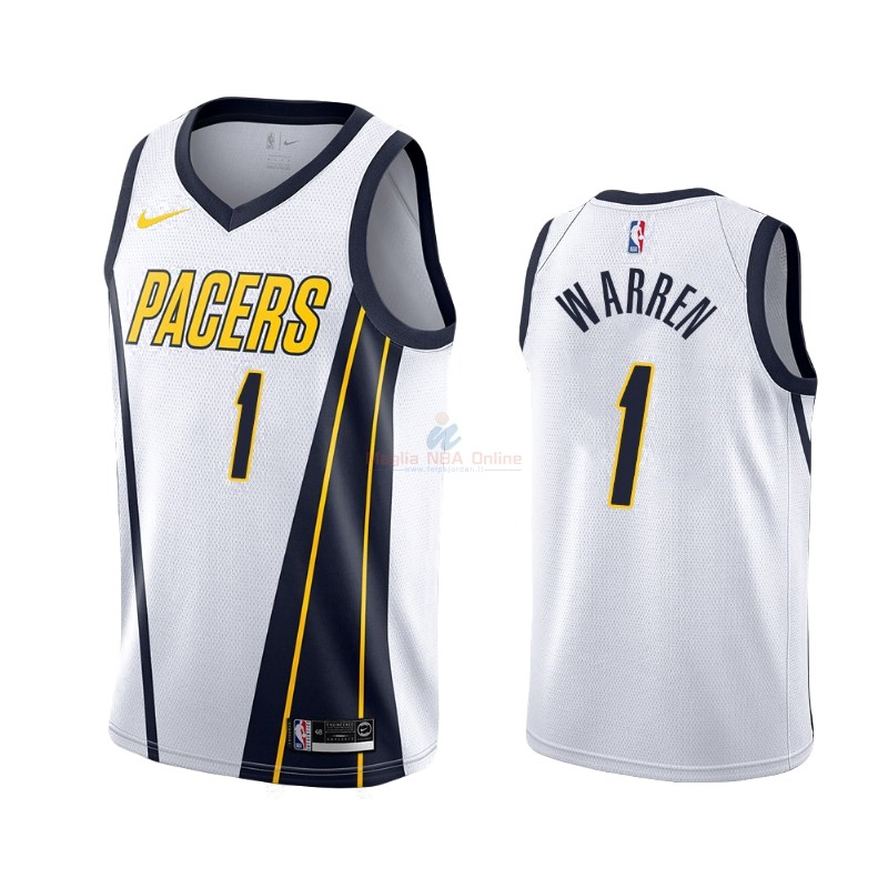 Maglia NBA Earned Edition Indiana Pacers #26 T.J. Warren Gray Bianco 2019-20 Acquista
