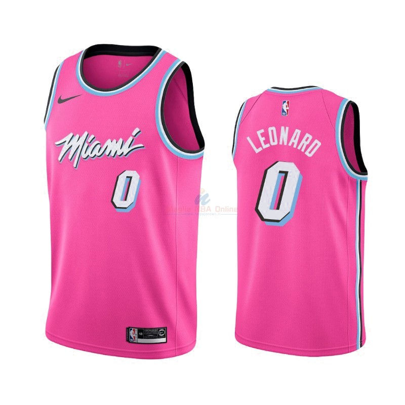 Maglia NBA Earned Edition Miami Heat #0 Meyers Leonard Nike Rosa 2019-20 Acquista