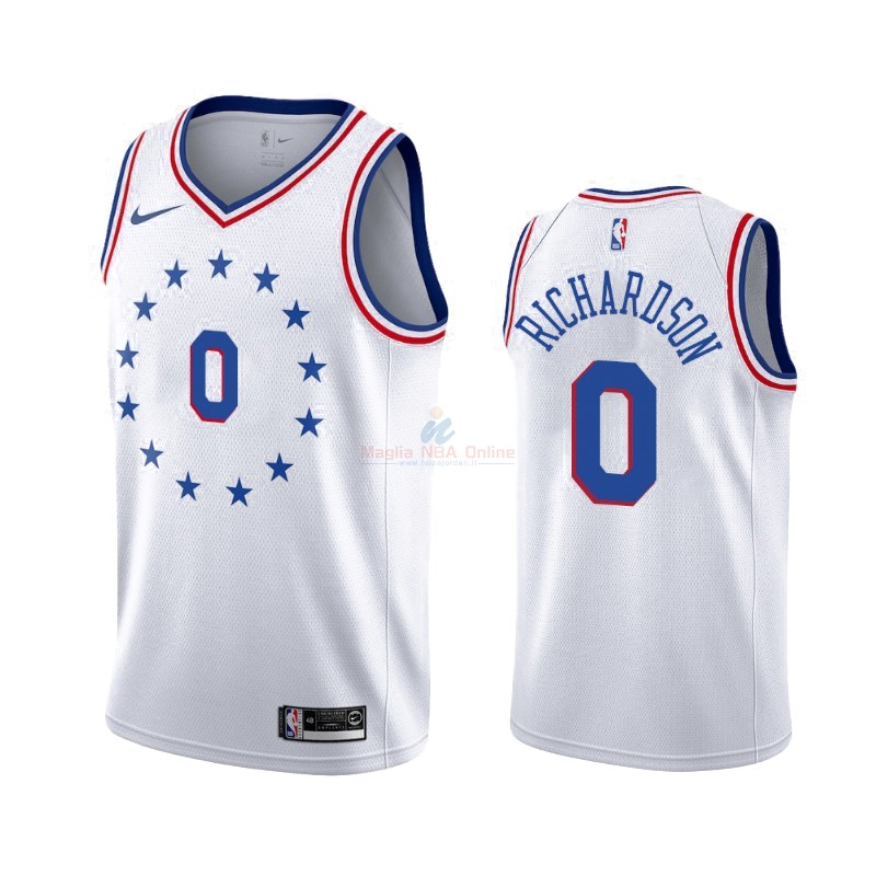Maglia NBA Earned Edition Philadelphia Sixers #0 Josh Richardson Bianco 2019-20 Acquista