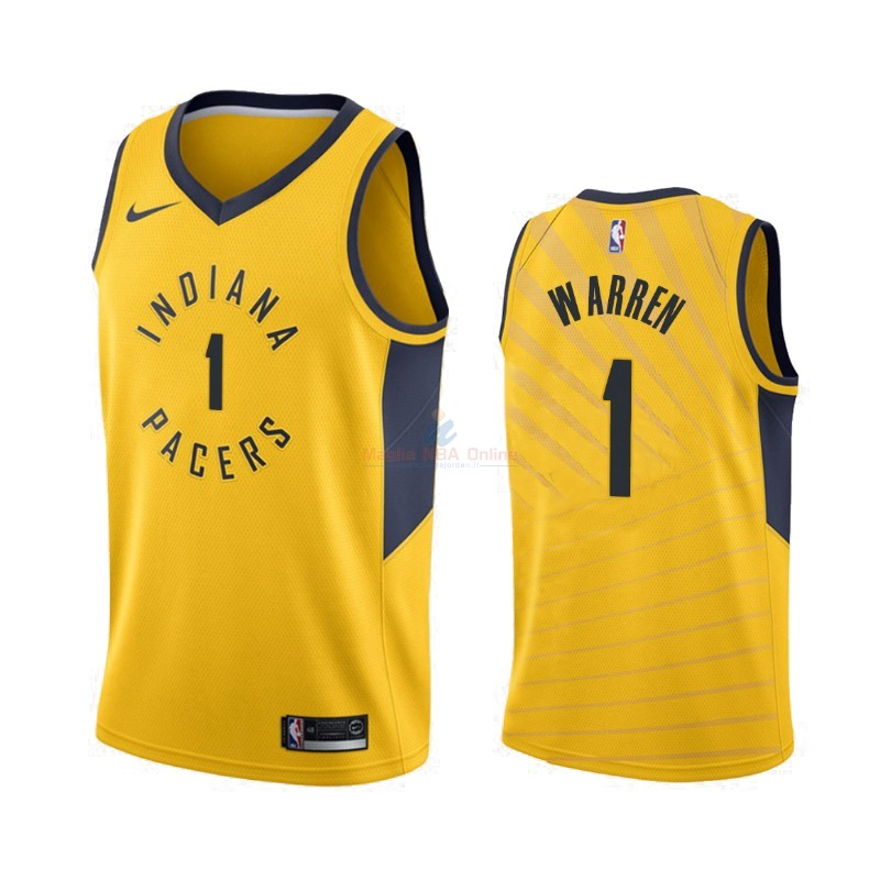 Maglia NBA Nike Indiana Pacers #1 T.J. Warren Gray Giallo Statement 2019-20 Acquista
