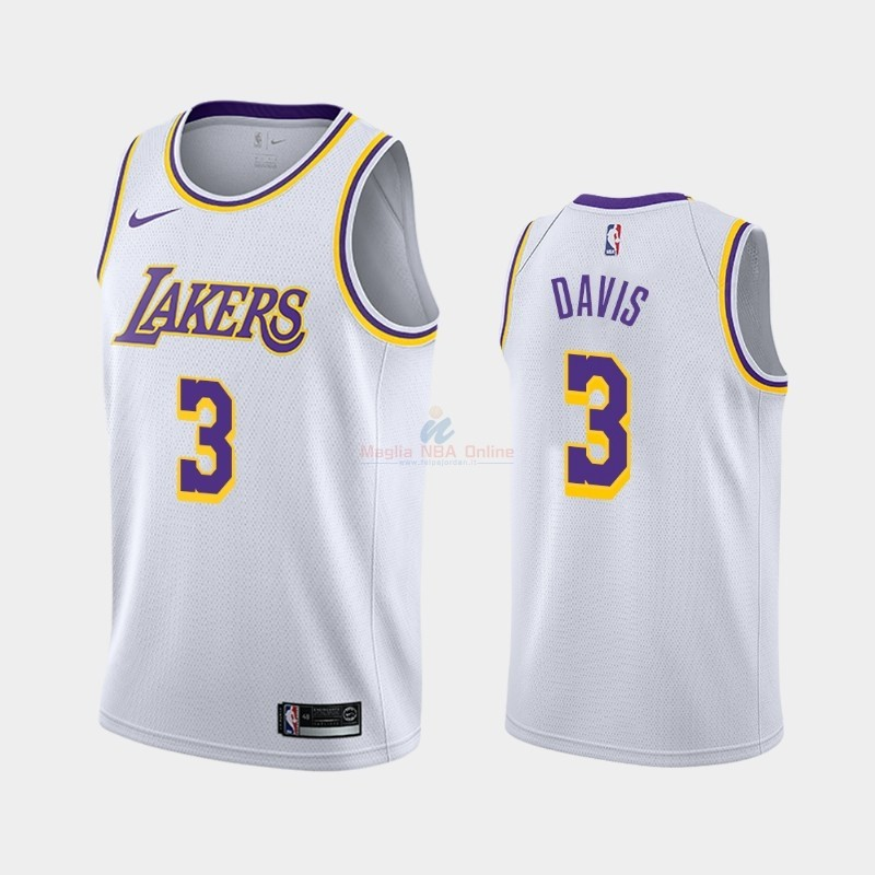 Maglia NBA Nike Los Angeles Lakers #3 Anthony Davis Bianco Association 2019-20 Acquista