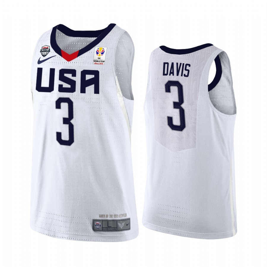 Coppa Mondo Basket FIBA 2019 USA #3 Anthony Davis Bianco Acquista