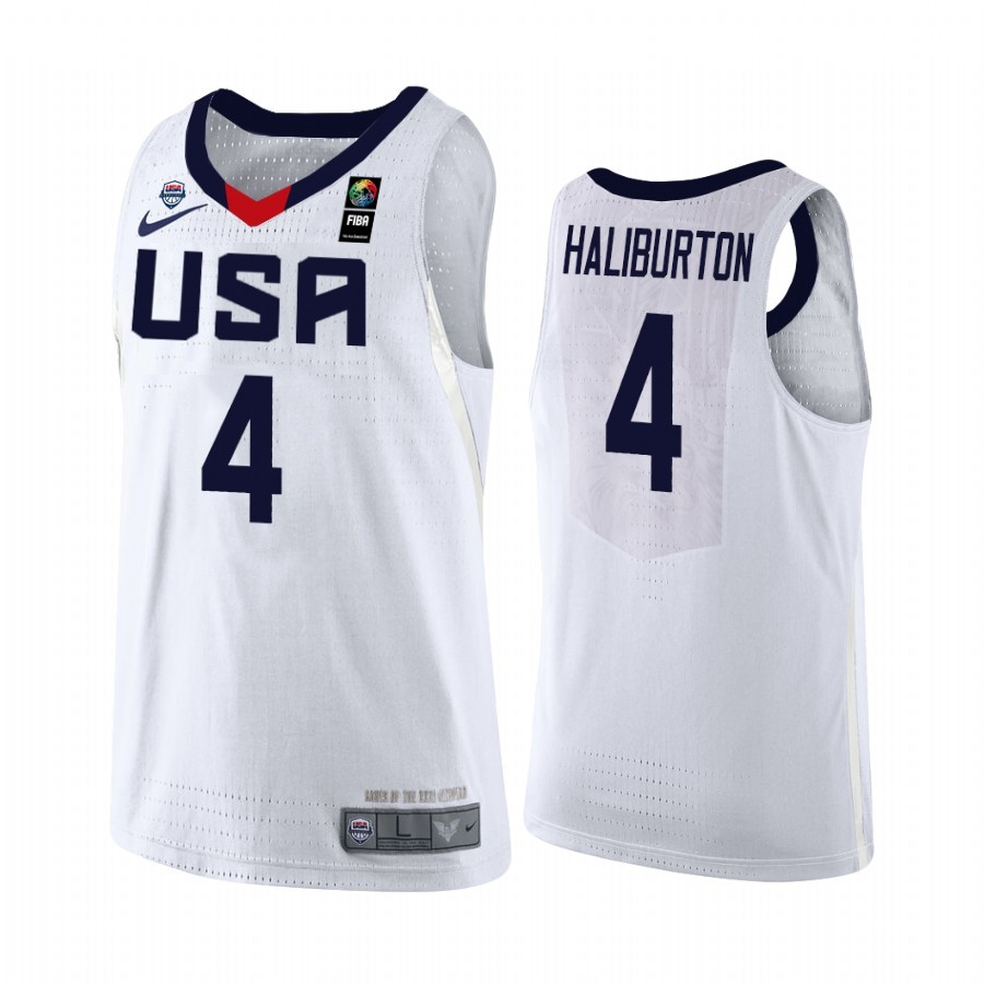 Coppa Mondo Basket FIBA 2019 USA #4 Tyrese Haliburton Bianco Acquista