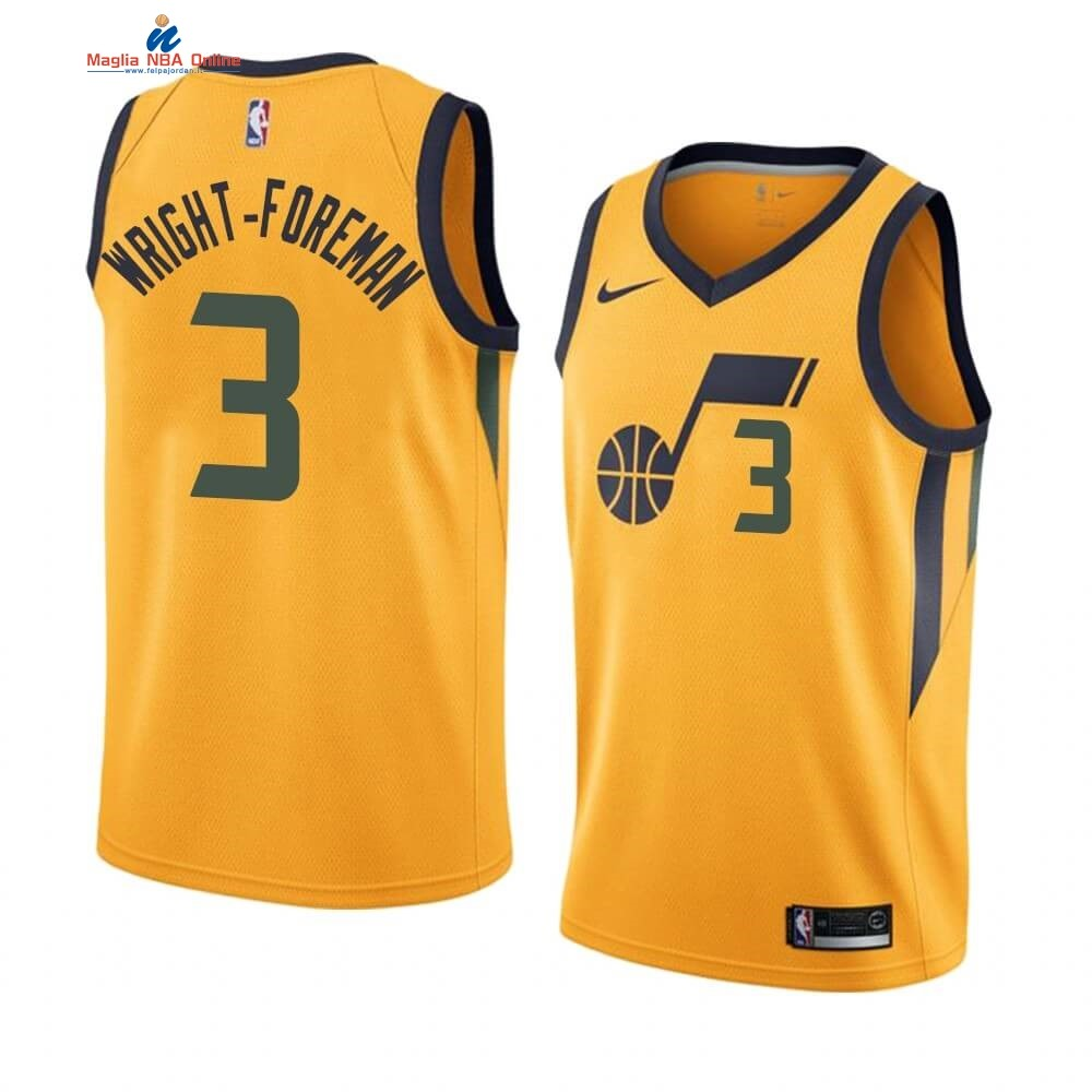 Maglia NBA Nike Utah Jazz #3 Justin Wright-Foreman Giallo Statement 2019-20 Acquista