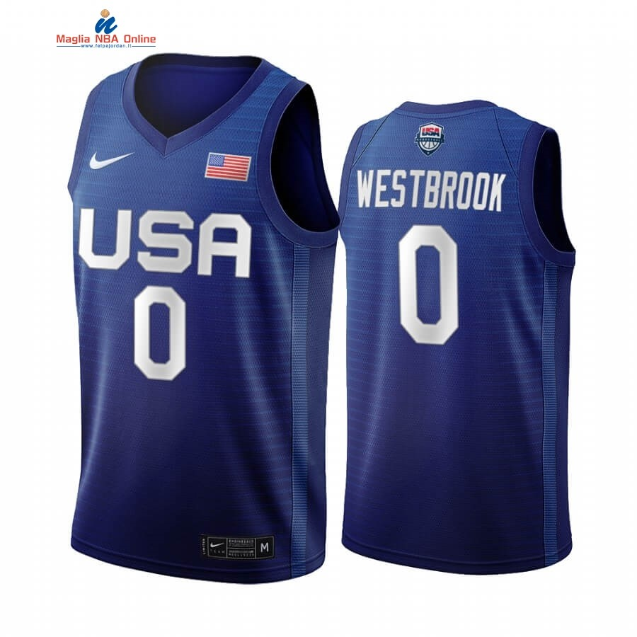 Maglia 2020 Olimpiadi Tokyo USMNT #0 Russell Westbrook Blu Acquista