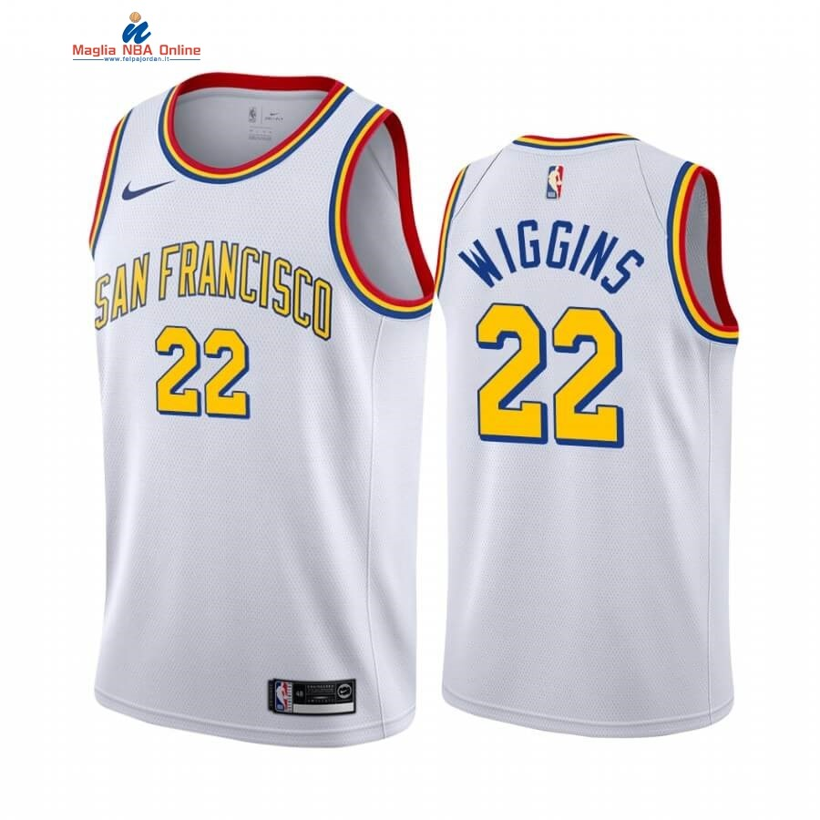 Maglia NBA Golden State Warriors #22 Andrew Wiggins Bianco Classics Edition 19 20 Acquista