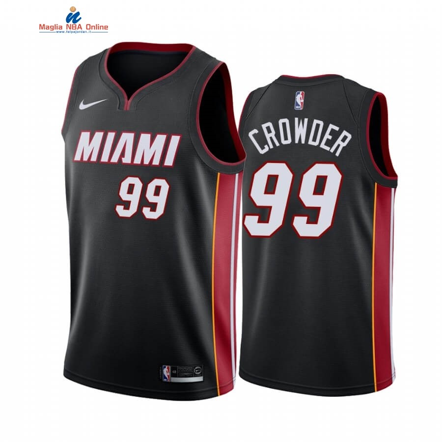 Maglia NBA Miami Heat #99 Jae Crowder Nero Icon 2019-20 Acquista