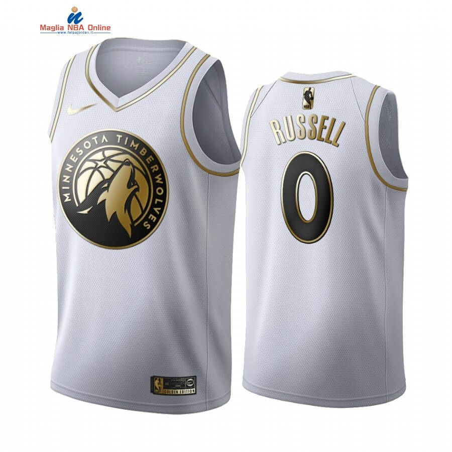 Maglia NBA Nike Minnesota Timberwolves #0 D'angelo Russell Blanc Oro 2019-20 Acquista