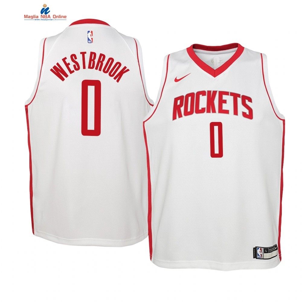 Maglia NBA Bambino Houston Rockets #0 Russell Westbrook Bianco Association 2019-20 Acquista