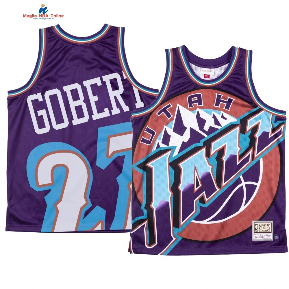 Maglia NBA Utah Jazz Big Face #27 Rudy Gobert Porpora Acquista