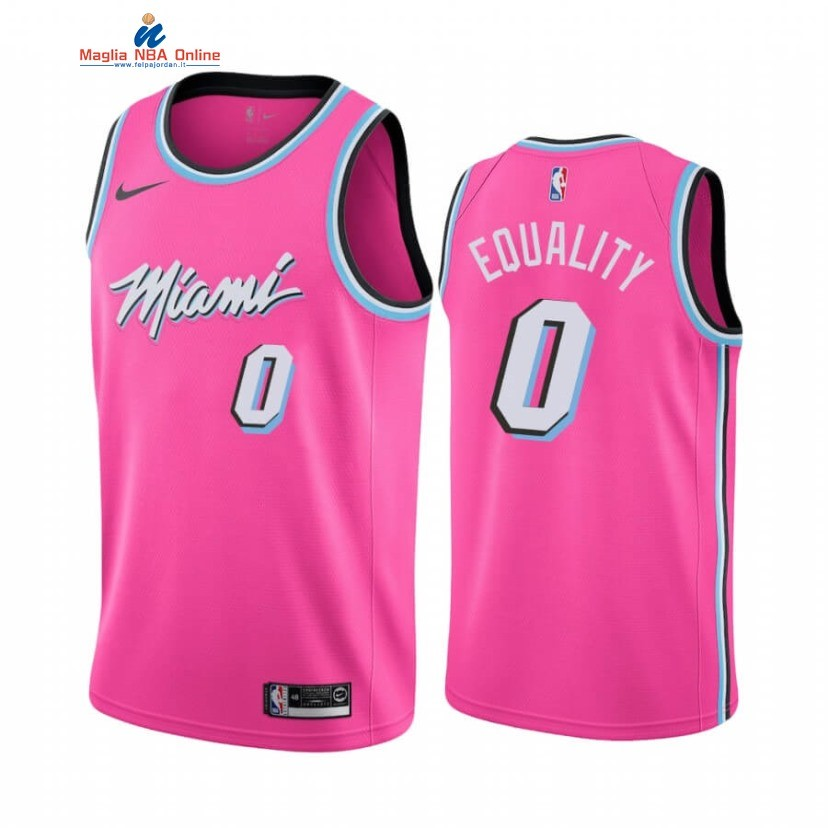 Maglia NBA Earned Edition Miami Heat #0 Meyers Leonard Equality Nike Rosa Acquista