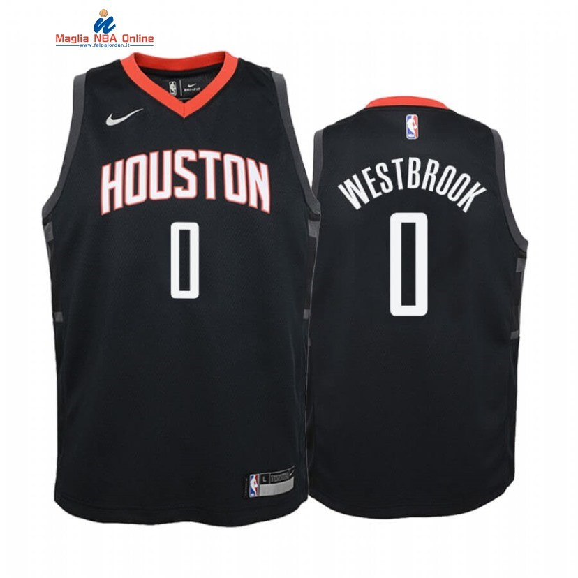 Maglia NBA Bambino Houston Rockets #0 Russell Westbrook Nero Statement 2020 Acquista