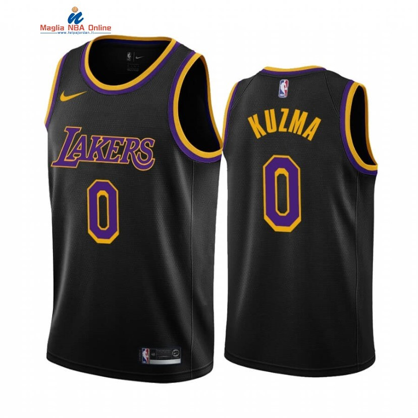 Maglia NBA Earned Edition Los Angeles Lakers #0 Kyle Kuzma Nero 2020-21 Acquista