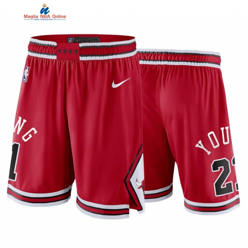 Pantaloni Basket Chicago Bulls #21 Thaddeus Young Rosso Icon 2020 Acquista