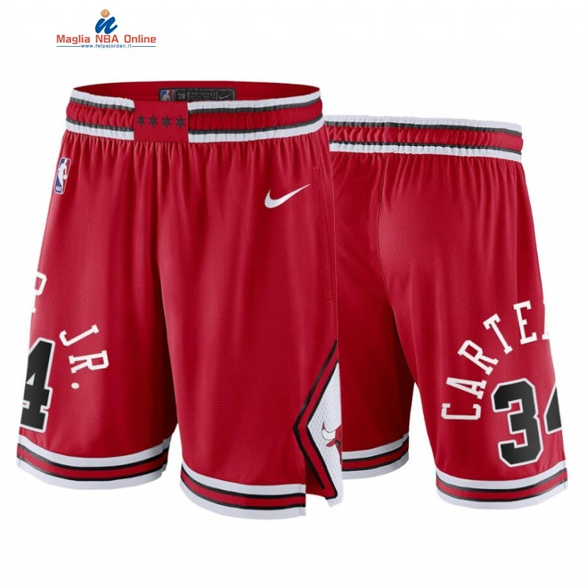 Pantaloni Basket Chicago Bulls #34 Wendell Carter Jr. Rosso Icon 2020 Acquista