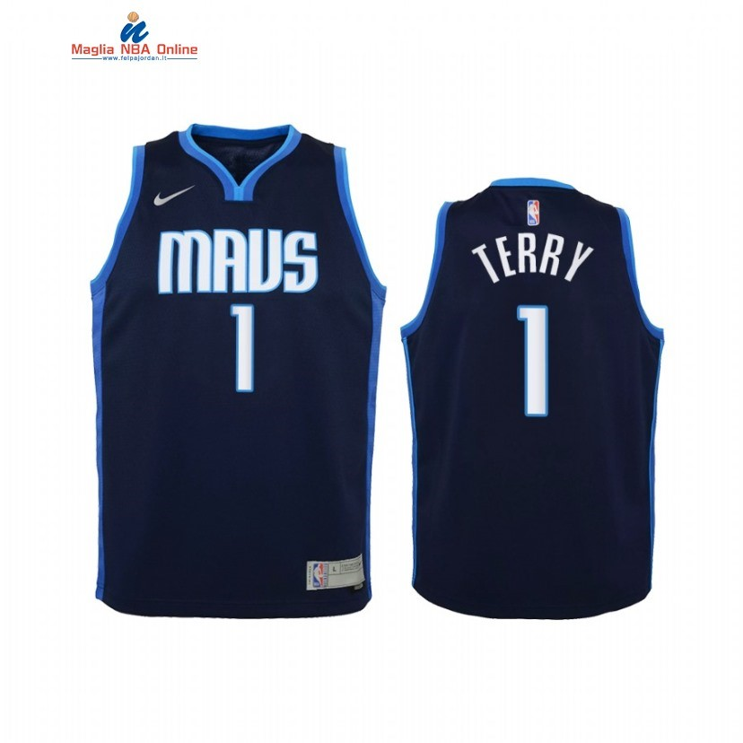 Maglia NBA Bambino Earned Edition Dallas Mavericks #1 Tyrell Terry Marino 2021 Acquista
