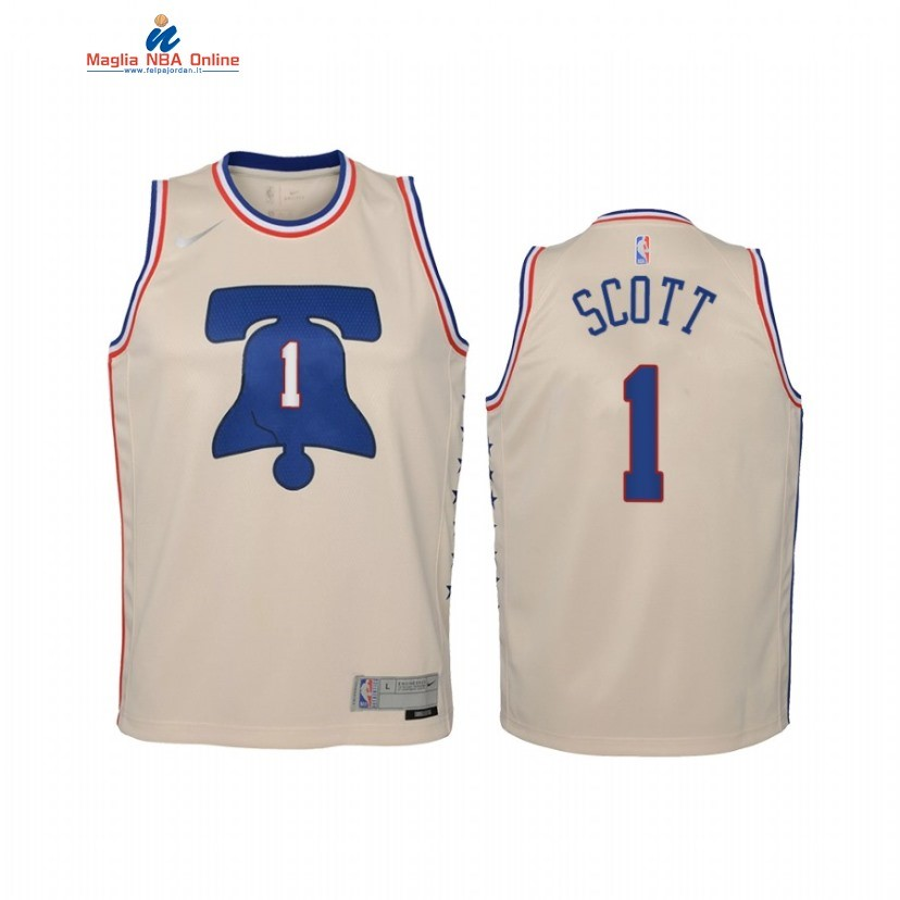 Maglia NBA Bambino Earned Edition Philadelphia Sixers #1 Mike Scott Crema 2021 Acquista