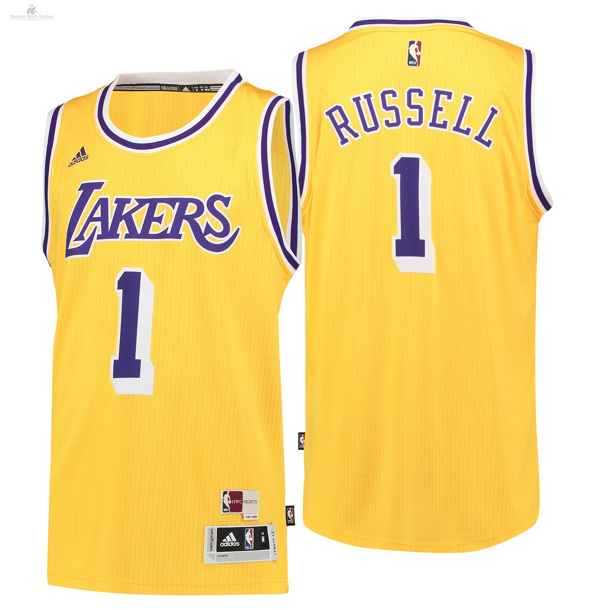 Acquista Maglia NBA Los Angeles Lakers #1 D'Angelo Russell Retro Blu