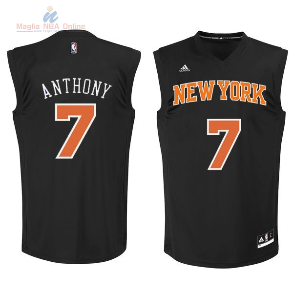 Acquista Maglia NBA New York Knicks #7 Carmelo Anthony Nero Arancia