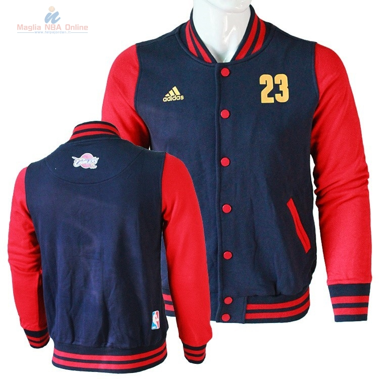 Acquista Giacca Di Lana NBA Cleveland Cavaliers #23 LeBron James Negr Rosso