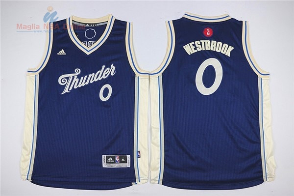 Acquista Maglia NBA Bambino 2015 Natale Oklahoma City Thunder #0 Russell Westbrook Blu