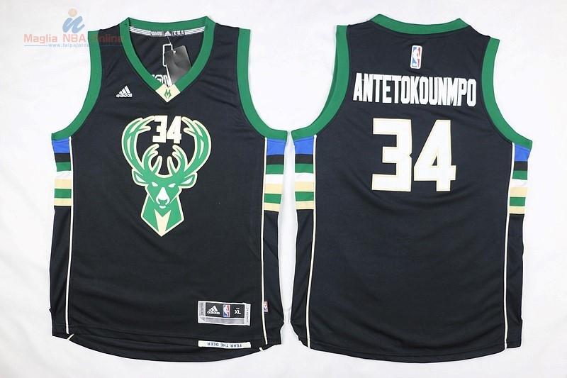 Acquista Maglia NBA Bambino Milwaukee Bucks  34 Giannis Antetokounmpo Nero 3a5b0a9fa99b