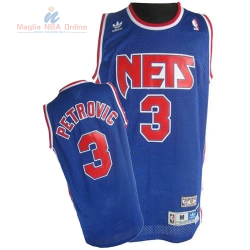 Acquista Maglia NBA Brooklyn Nets #3 Drazen Petrovic Blu