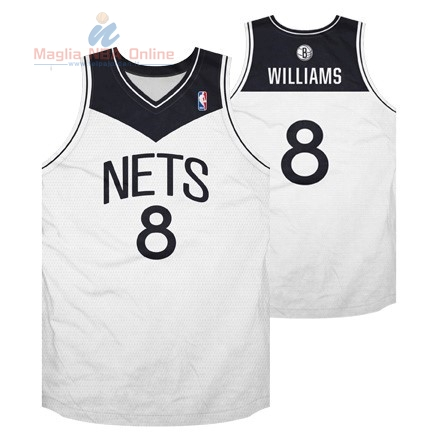 Acquista Maglia NBA Brooklyn Nets #8 Deron Michael Williams Bianco Nero