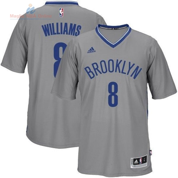 Acquista Maglia NBA Brooklyn Nets Manica Corta #8 Deron Michael Williams Grigio