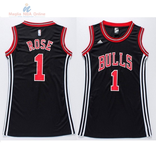 b47063ebcedbe Acquista Maglia NBA Donna Chicago Bulls  1 Derrick Rose Nero