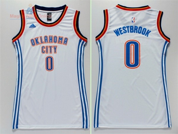 Acquista Maglia NBA Donna Oklahoma City Thunder #0 Russell Westbrook Bianco