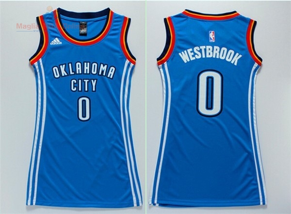 Acquista Maglia NBA Donna Oklahoma City Thunder #0 Russell Westbrook Blu