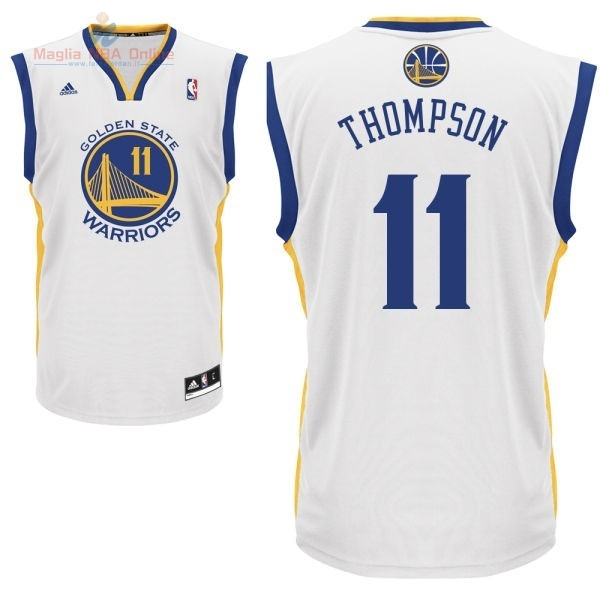 Acquista Maglia NBA Golden State Warriors #11 Klay Thompson Bianco