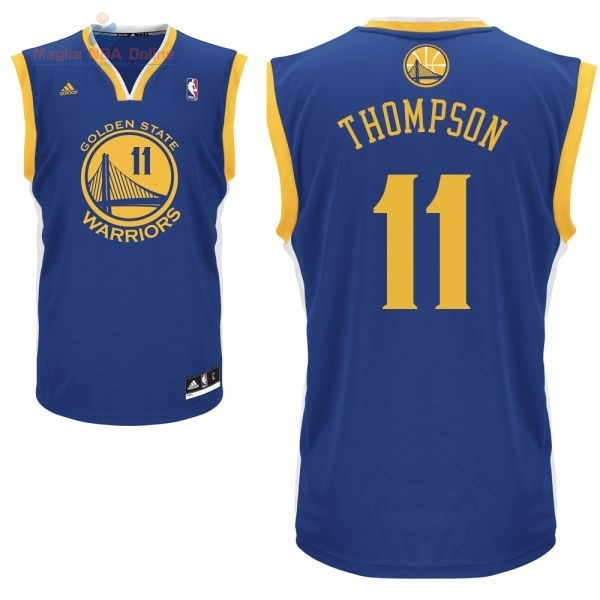 Acquista Maglia NBA Golden State Warriors #11 Klay Thompson Blu