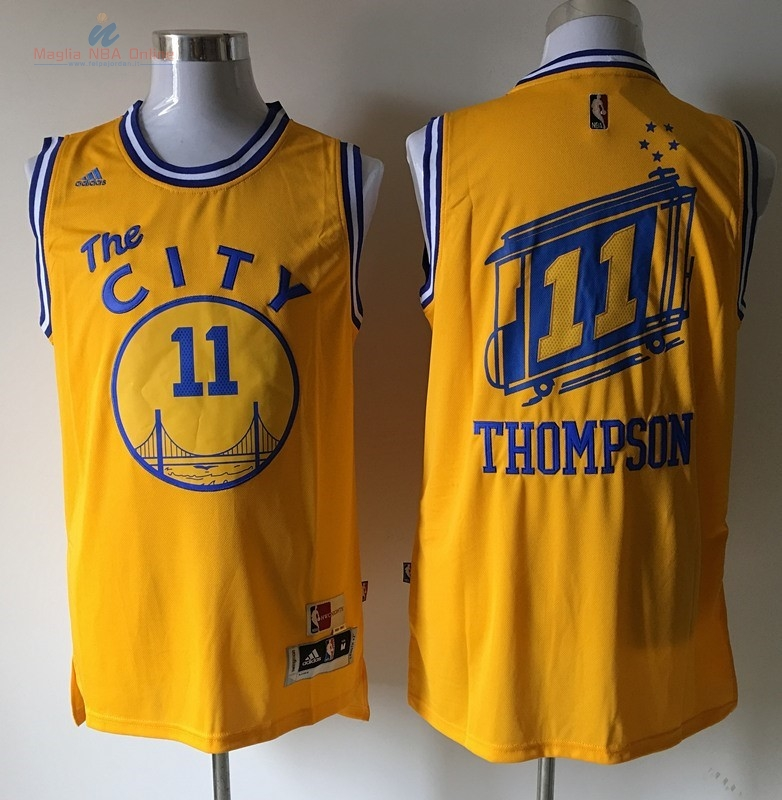 Acquista Maglia NBA Golden State Warriors #11 Klay Thompson Giallo