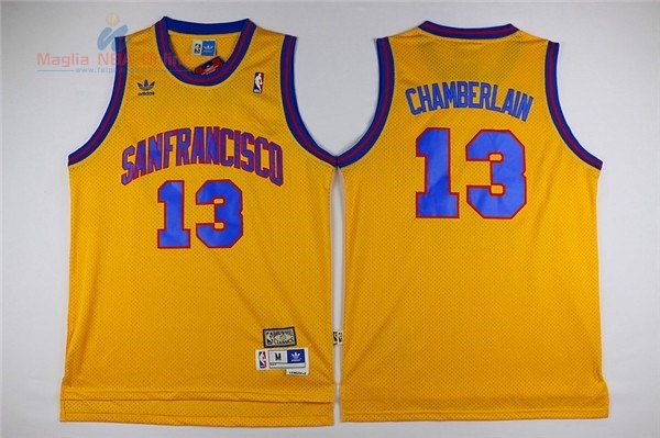 Acquista Maglia NBA Golden State Warriors #13 Wilt Chamberlain Giallo