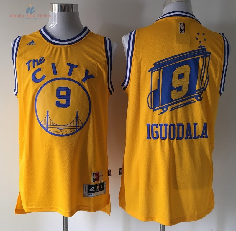 Acquista Maglia NBA Golden State Warriors #9 Andre Iguodala Retro Giallo